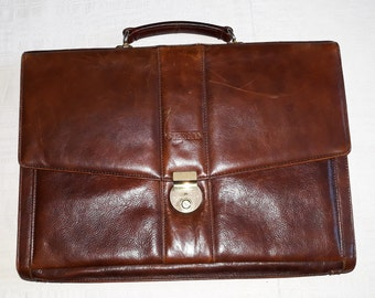 7946215c0f97 Vtg TERGAN cognac Brown genuine classic business Leather men briefcase High  quality bag elegant documents case european design gift for him