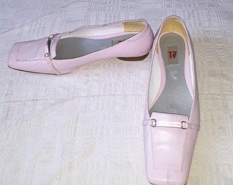 d9af87aa835bee Vtg Gortz women pink leather shoes extra large size original made in German  echt leder European quality walking spring square toe rare pumps