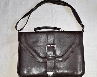 Vintage vegan leather chestnut brown women unisex briefcase shoulder bag  portfolio business bags case document holder casual student purse a6353563f89ab