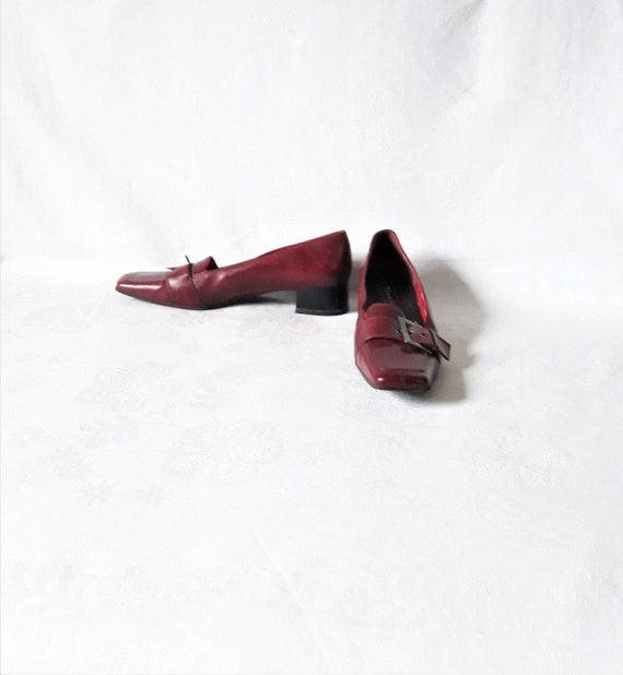 vintage red leather women loafers square toe shoes