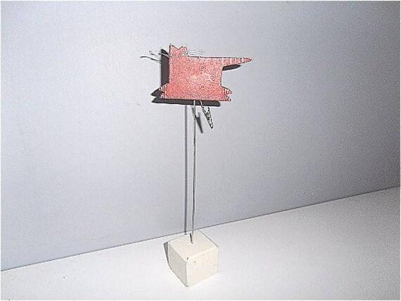 Bureau vintage en bois patiné usé rouge et blanc j line by jolipa j