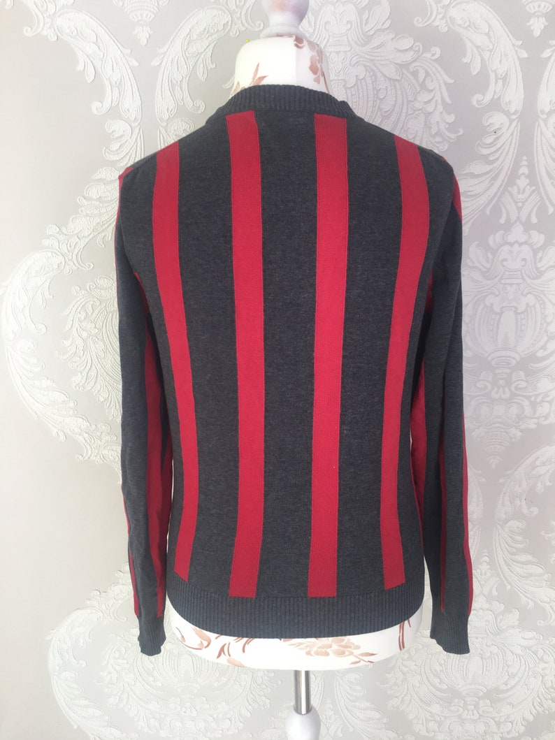 Vintage Men Classic striped cotton jacket cardigan gray red pullover Size S small clothes casual practical outfit Swedish scandinavian Adam