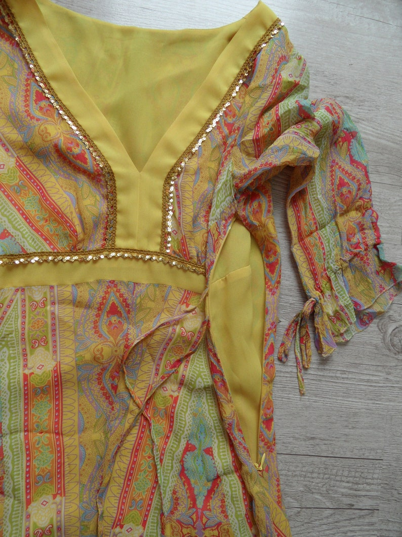 Vintage ethnic embellished asian princess Indian handmade dress yellow lining embroidered flitters glossy summer boho women clothing