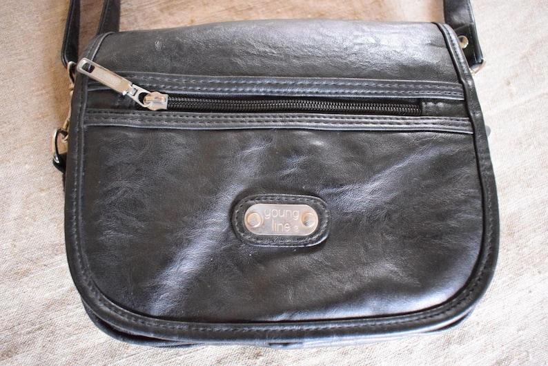 e42999b99002 Vtg Italian vegan leather black Young line Gloria Vinci