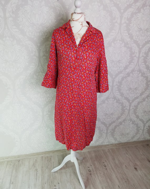 vintage dressing gown women floral morning dress smock L size retro shirtdress
