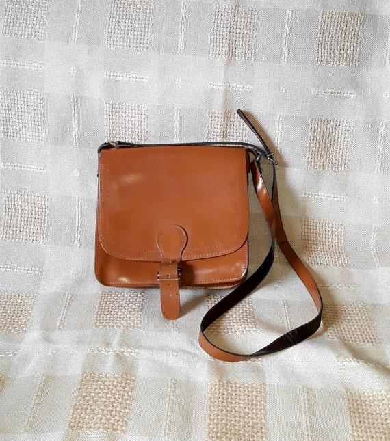 Vintage 100/% Leather Saddle Bag Crossbody purse Santorini Greece Greek 6.5\u201d RARE