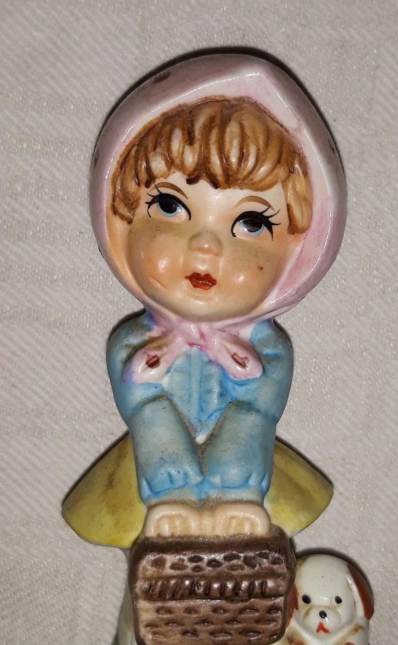 Vintage faience Statuette little girl and dog retro polka dots headkerchief