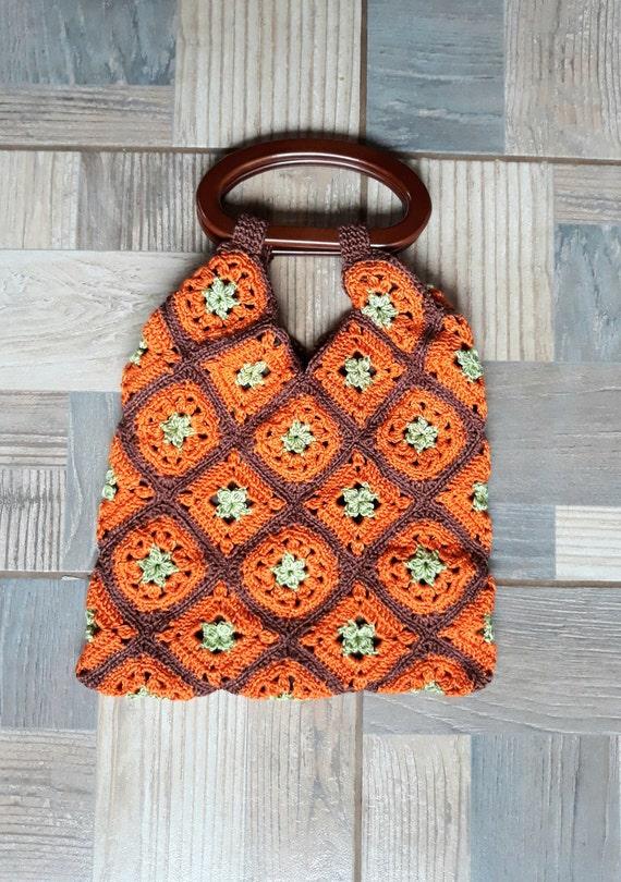 Vintage crochet handbag handmade tote orange handl