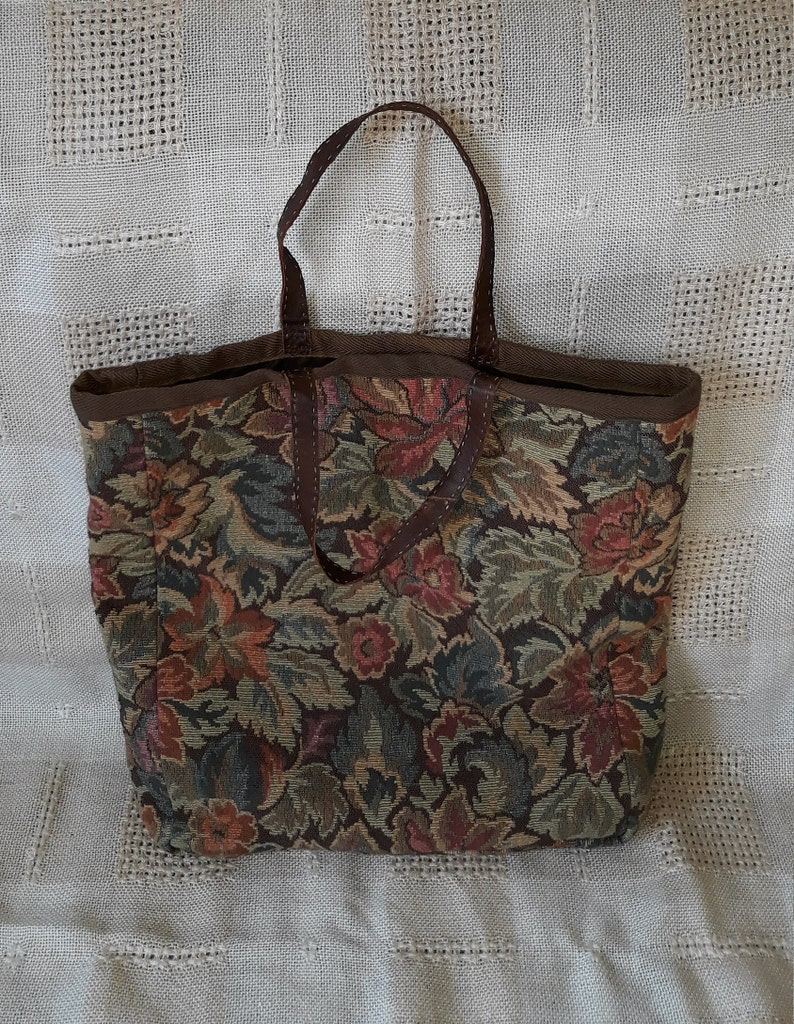 Vintage handmade tapestry green brown handbag tote colorful gobelin purse quality fabric market beach bag retro granny pouch with pocket