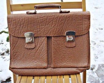 Vintage Brown Leather suitcase Portfolio Student Bag Office Folder Man travel Case Retro Bag 1970s swedish quality accessories briefcase