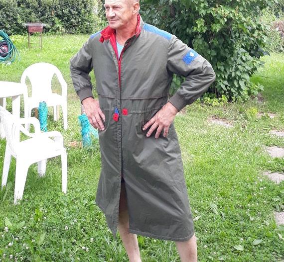 Vintage khaki men Work wear nordic coat retro tren