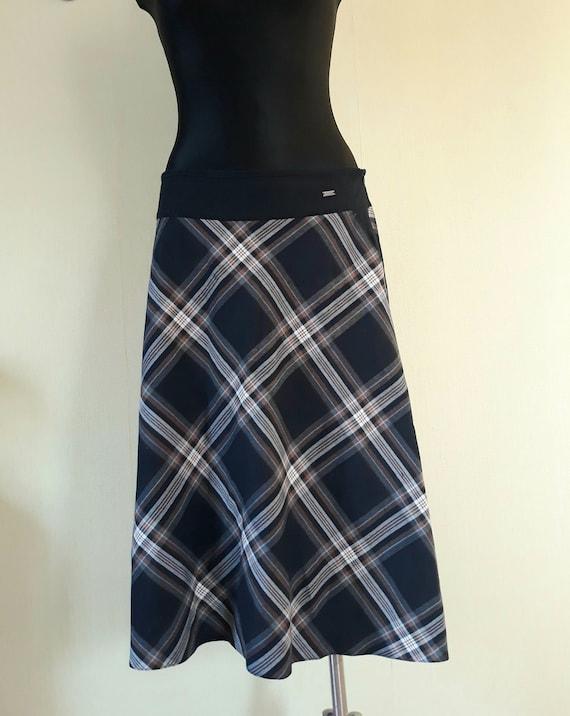 vintage women plaid skirt midi circle skirts XL si