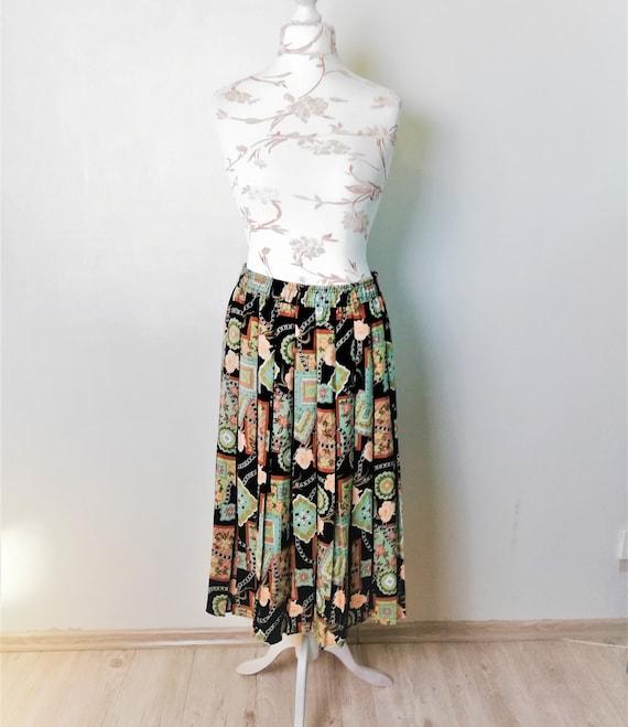 vintage pleated midi skirt women floral circle ski