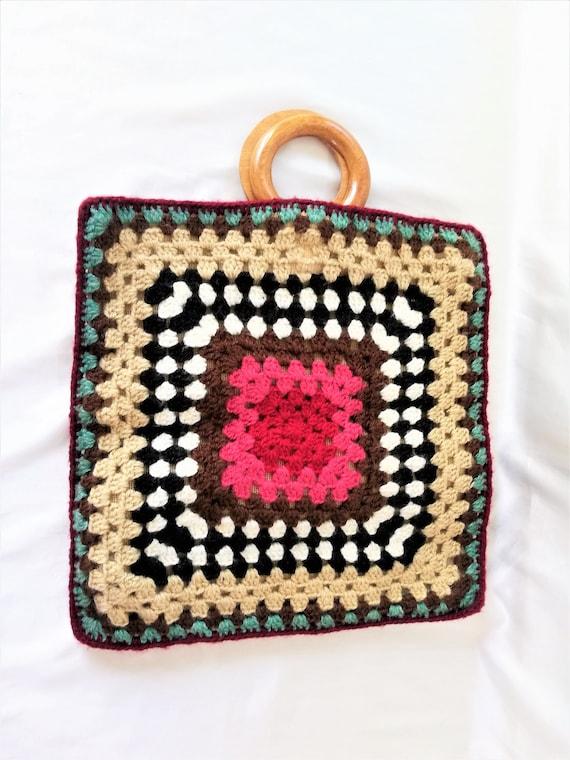 Vintage crochet handbag square tote handled purse