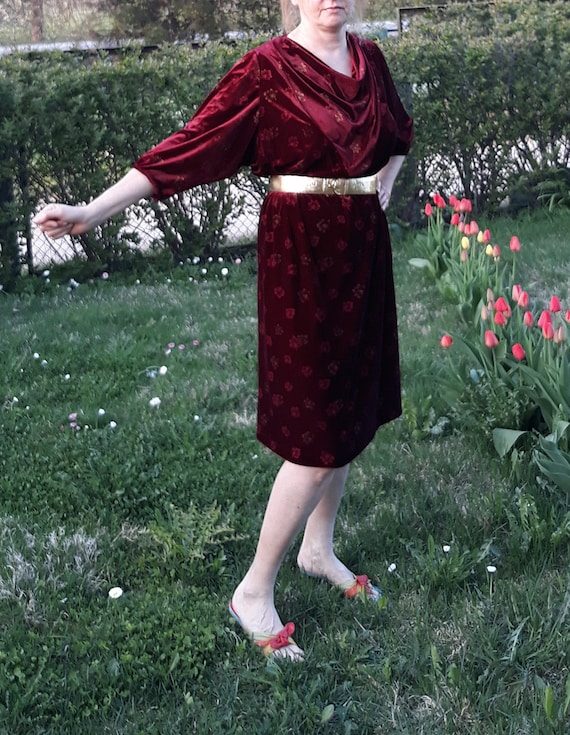 Vintage handmade velvet wine red gold dress retro