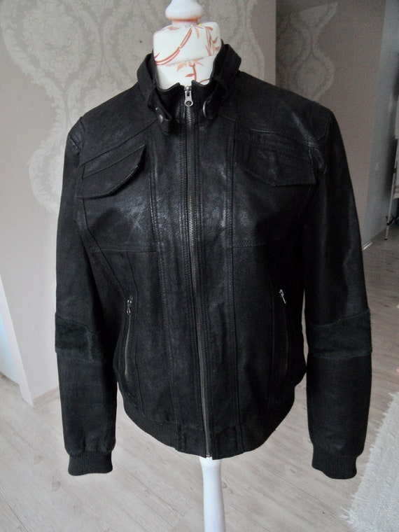 Mens Fashion Mid Night Blue leather Jacket with Authentic Chest Pockets