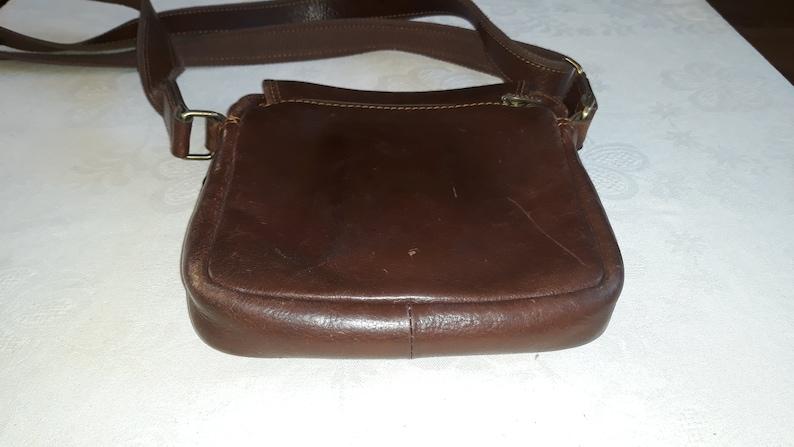 Vintage cognac brown leather men crossbody bag Katana Paris France French high quality messenger bag many compartments european unisex purse