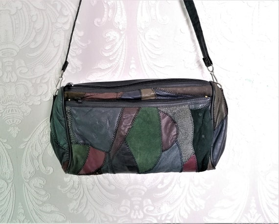 Vintage 80s patchwork suede shoulder bag crossbody