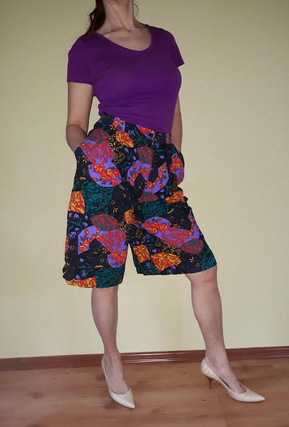 vintage colorful shorts L size floral women 80s sh