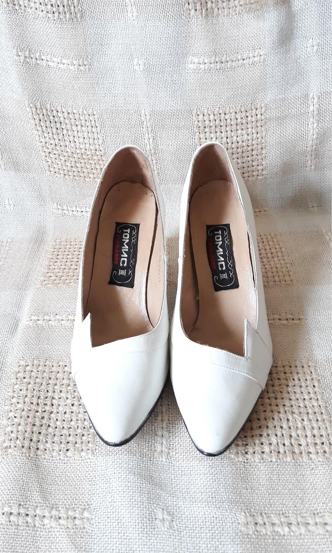 38db85207c0ea Vintage White Leather shoes wedding elegant retro pumps Fancy medium  stiletto Women shoes/ Size EU 39 made in Rumania Tomis III