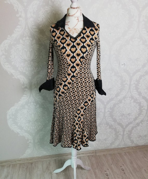 Vtg heart print dress sleeved L Size women brown i
