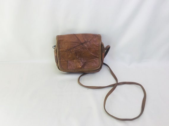 Vintage 80s patchwork leather cocoa brown purse cr