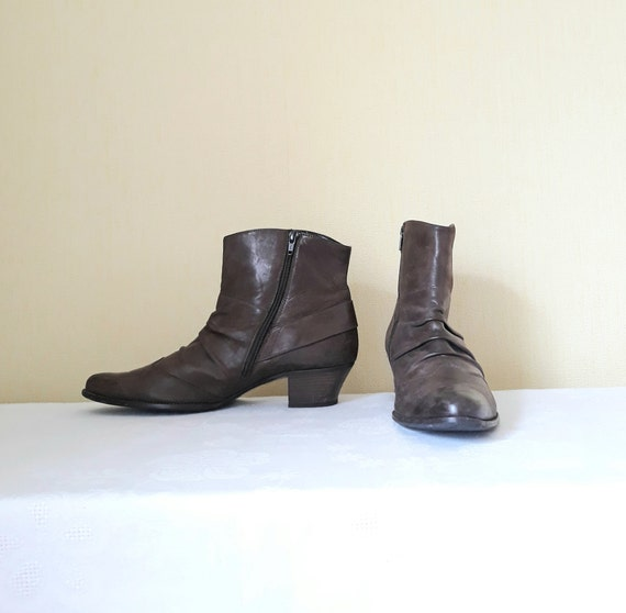 vintage brown leather women ankle boots wingtip fo