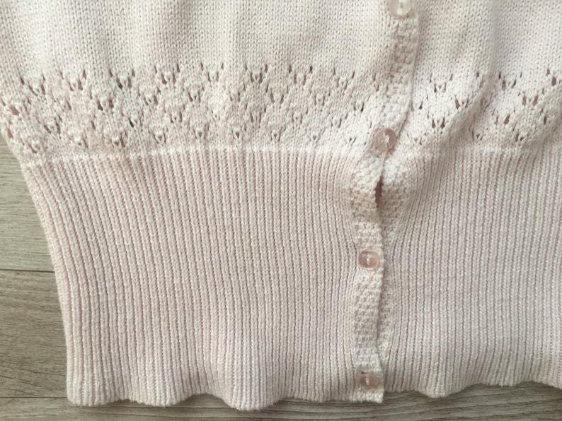 Vtg pink knitted cotton women italian cardigan summer jacket Knit Knitwear granny spring romantic clothes medium size S european