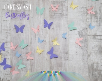Cake Smash Set - Butterflies.  Pastel Coloured Butterflies and a Tutu Set, Nursery
