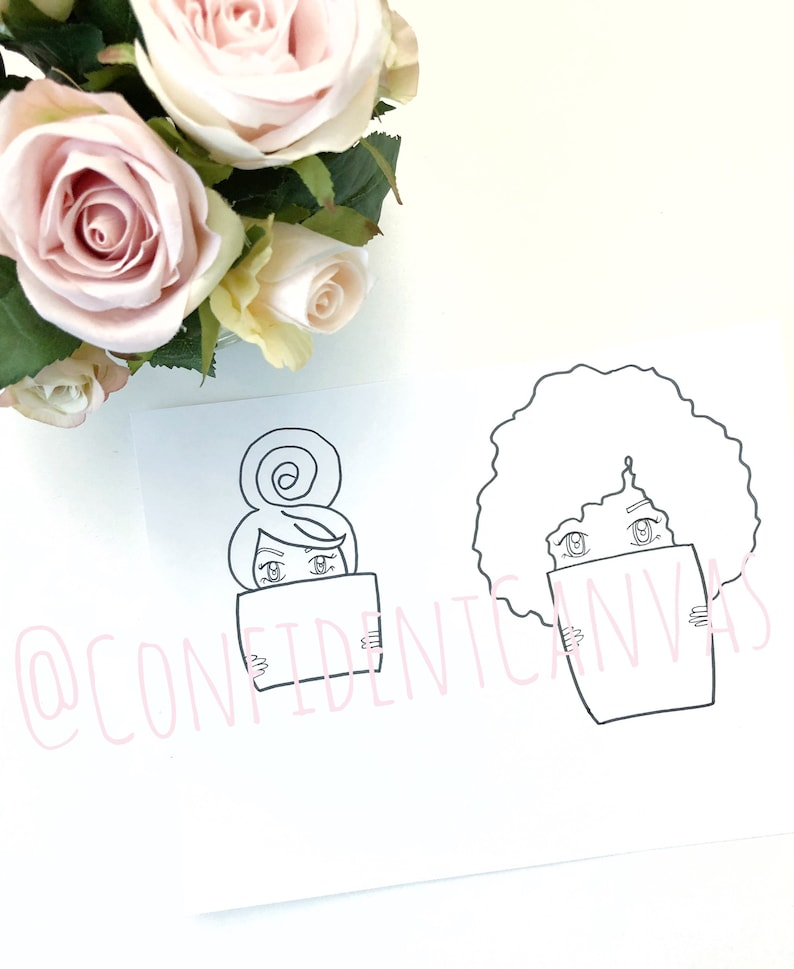 Little Sis Big Sis Afro & Top Knot Girl Illustration with Sign image 0