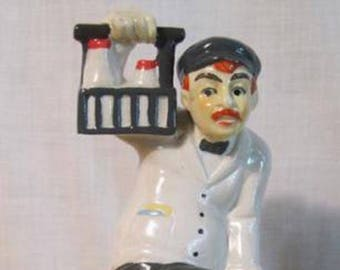 Vintage Ceramic Figurine of A Milkman with A Dog Nipping at His Heels Milkman Figurine