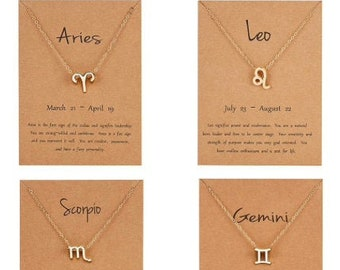 Zodiac Gold OR Silver Pendant Charm Necklaces - Horoscope Choker Necklaces