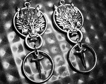 BLOODPACT Wolf U0026 Dagger Earrings   Stainless Steel Post OR Hook Earrings    Dagger, Sword, O Ring, Weapon, Wolves, Wolfpack, Door Knocker