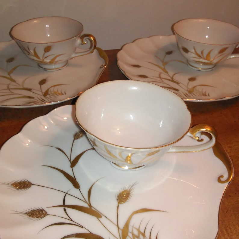Vintage Hand Painted Lefton China Tea Cup and Saucer Set of Three