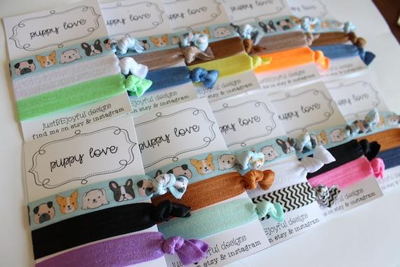 Puppy Love No Crease Hair Tie Party Favors Soft Hair Tie  0b4cd58b2ec