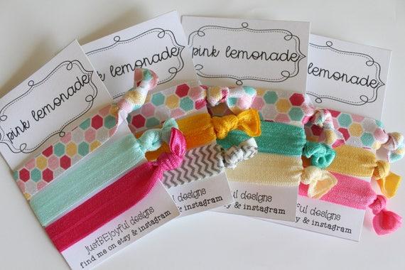 Pink Lemonade No Crease Hair Tie Party Favors Soft Hair  c5d2895736c