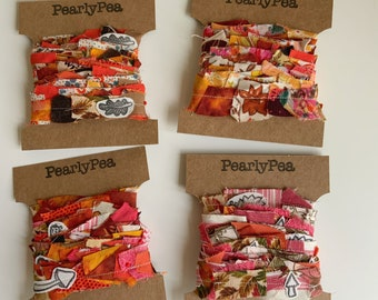 2m Orange decorative scrap ribbon. Recycled fabrics for scrap booking, textile projects