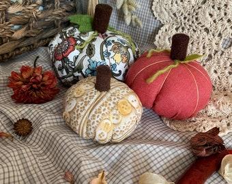 Trio of pumpkins for autumn, fall decor, Halloween.