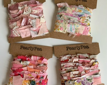 2m peach decorative scrap ribbon. Recycled fabrics for scrap booking, textile projects, gift wrap
