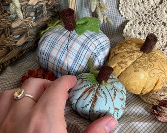 Blue, gold, trio of pumpkins for autumn, fall decor, Halloween.