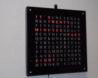 Wordclock in Red XXL 40cm X 40cm