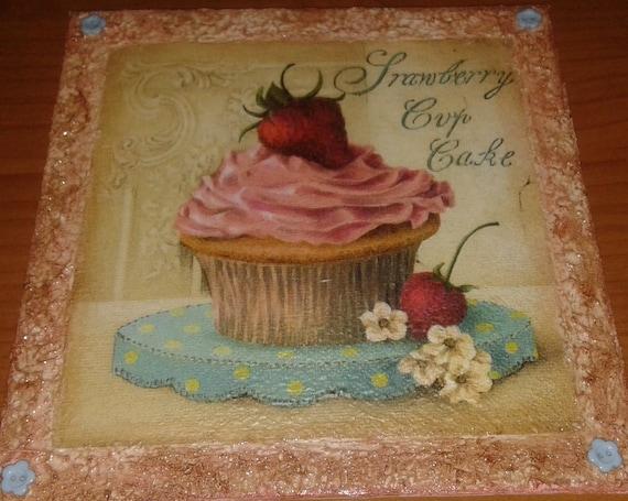 Quadro tela cupcake decoupage per cucina   Etsy