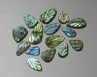 Best Quality Both Side Craved Leaf Shape  Size 9x12-11x19 mm Labradorite 13 pcs