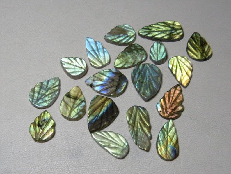 Labradorite 18 pcs Best Quality Both Side Craved Leaf Shape  Size 9x12-11x20 mm