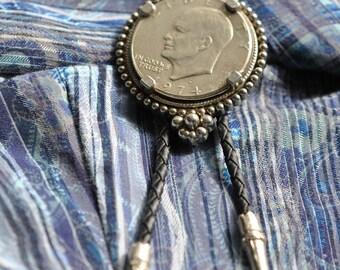 Bolo Tie, Eisenhower Split Coin  1974   Vintage