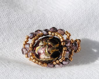 Glass Bead Ring  Purple and Gold.   Handmade  Size 4