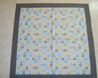 Blue Circle/Grey Dot Receiving Blanket