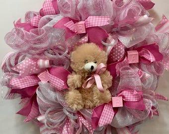 Baby Deco Mesh Wreath, Baby Girl Wreath, Pink Wreath, Baby Shower Wreath,Baby Shower Decor, Nursery Room Wreath, Ready To Ship Wreath