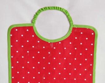 Grand bavoir super pratique en coton enduit à pois fuchsia blanc et vert pour bébé enfant fille