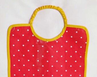 Grand bavoir bébé en coton enduit, bavoir de cantine, à pois fuchsia, blanc et jaune bébé enfant fille